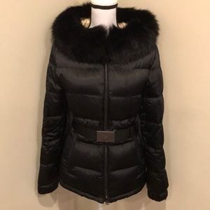 Prada Piumino Fur Hooded Puffer Down Coat Jacket